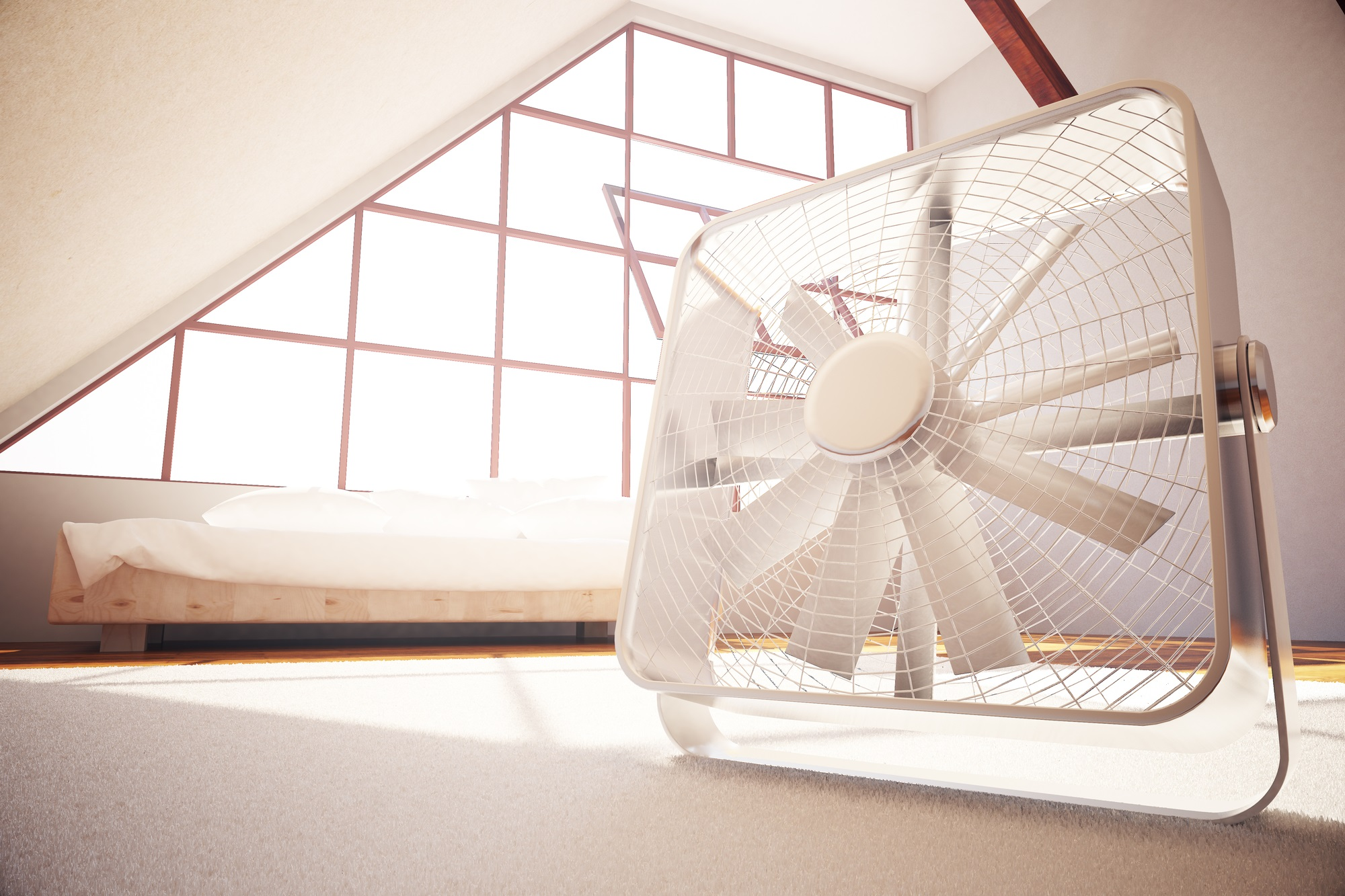 Closeup of fan in bedroom interior. 3D Rendering